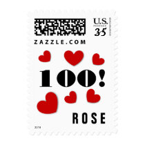 100th Birthday Girl 100 Years Young Hearts RED A01 Postage