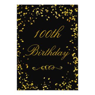100th Birthday Glamorous Gold Confetti 5x7 Paper Invitation Card