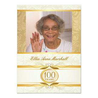 "100th Birthday - Gold Damask Photo Invitation 4.5"" X 6.25"" Invitation Card"
