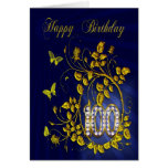 100th Birthday golden butterflies Greeting Card