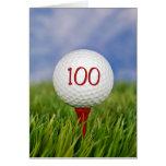 100th Birthday Golf Ball Greeting Card
