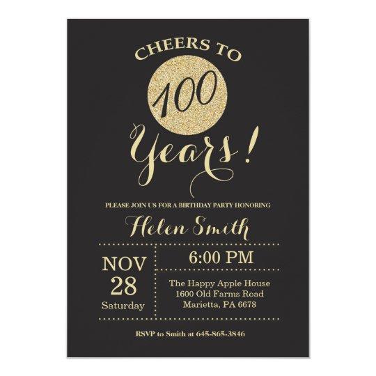 100th Birthday Invitation Black And Gold Glitter Zazzle Com