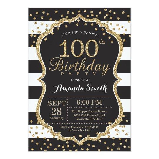 100th Birthday Invitation Black And Gold Glitter Invitation
