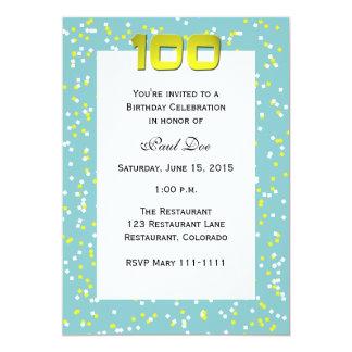 100th Birthday Invitation Confetti