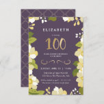 """100th Birthday Invitation Customize Floral w/ Gold<br><div class=""""desc"""">This elegant and classy one hundredth birthday invitation features an illustrated floral border and the number """"100"""" in gold. The background is a purple color, but can be customized to any color you choose. The back of the invite includes a gold quatrefoil pattern with a matching purple background that can...</div>"""