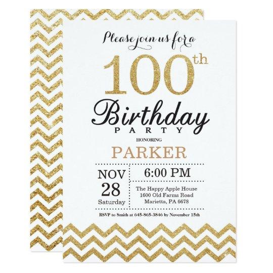 100th birthday invitation gold glitter zazzle com