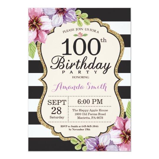 100th birthday invitation women floral gold black zazzle com