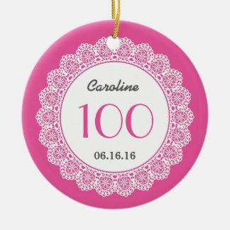 100th Birthday Memento White Lace A01A Double-Sided Ceramic Round Christmas Ornament