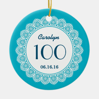 100th Birthday Memento White Lace A02 Double-Sided Ceramic Round Christmas Ornament