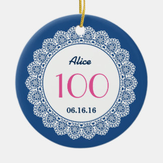 100th Birthday Memento White Lace A03 Double-Sided Ceramic Round Christmas Ornament