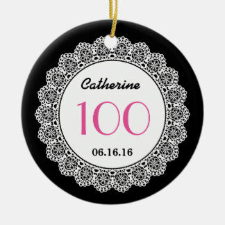 100th Birthday Memento White Lace A04 Double-Sided Ceramic Round Christmas Ornament