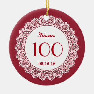 100th Birthday Memento White Lace A06 RED Double-Sided Ceramic Round Christmas Ornament