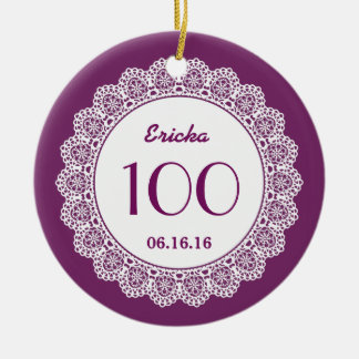 100th Birthday Memento White Lace A07 PURPLE Double-Sided Ceramic Round Christmas Ornament