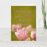 "100th Birthday Mother, Spring Pink Tulips on Green Card<br><div class=""desc"">Sweet card for the mother who is exceptional... </div>"