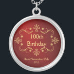 """100th Birthday Necklace - Vintage Frame Pendant<br><div class=""""desc"""">100th Birthday Keepsake Pendant Necklace -- Elegant vintage gold frame with flourished antique design -- Customize the year, or add name and date for your happy celebration. Perfect gift for your wife, mother, grandmother to commemorate your special and happy occasion. Matching cards, invitations, postage and gifts available. Other styles and...</div>"""