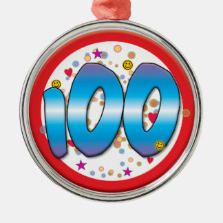 100th Birthday Silver-Colored Round Decoration