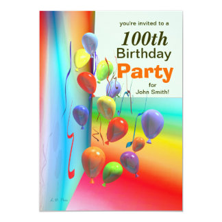 100th Birthday Party Balloon Wall Card