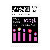 100th BIrthday Party Birthday Stamp Pink Candles