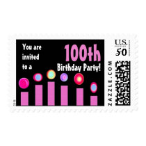 100th Birthday Party Birthday Stamp Pink Candles 2