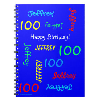 100th Birthday Party Blue Guest Book, Repeat Name Notebook