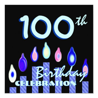 100th Birthday Party Blue Striped Candles 5.25x5.25 Square Paper Invitation Card