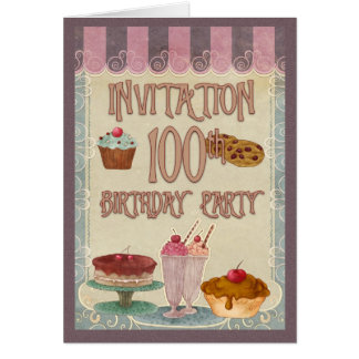 100th Birthday Party - Cakes, Cookies, Ice Cream Greeting Card