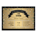 100th Birthday Party Celebrate Faux Jewel Confetti Card