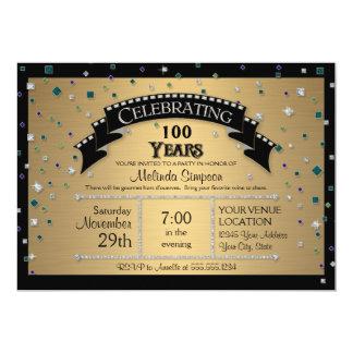 100th Birthday Party Celebrate Faux Jewel Confetti 5x7 Paper Invitation Card
