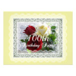 100th Birthday Party Celebration-Red/Yellow Roses Announcement