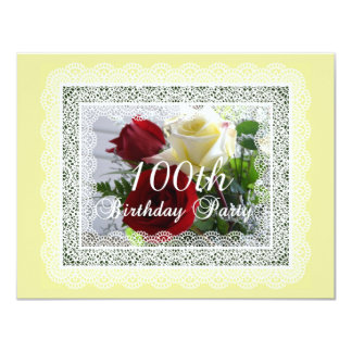100th Birthday Party Celebration-Red/Yellow Roses 4.25x5.5 Paper Invitation Card