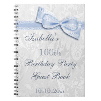 100th Birthday Party Damask and Bow Spiral Note Books