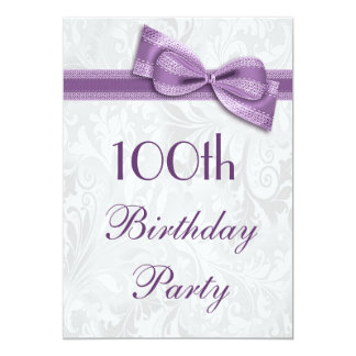 100th Birthday Party Damask and Faux Bow Card