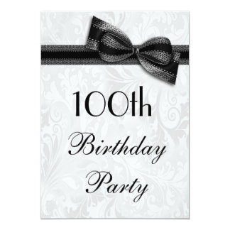 100th Birthday Party Damask and Faux Bow 5x7 Paper Invitation Card