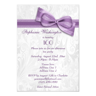 100th Birthday Party Damask and Faux Bow Magnetic Card