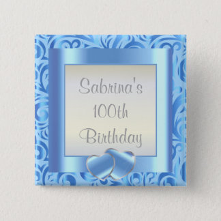 100th Birthday Party | DIY Text |Baby Blue Button