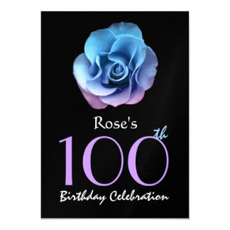 100th Birthday Party Elegant Blue and Purple Rose Card