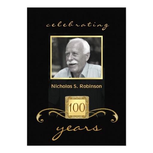 100th Birthday Party Elegant Photo Invitations