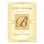 100th Birthday Party Gold Damask Monogram 5x7 Paper Invitation Card
