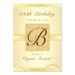 100th Birthday Party Gold Damask Monogram Card