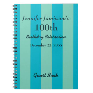 100th Birthday Party Guest Book Blue/Green Stripe Note Books