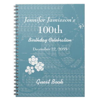 100th Birthday Party Guest Book Blue, White Floral Notebooks