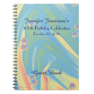 100th Birthday Party Guest Book, Blue with Hearts Spiral Notebook