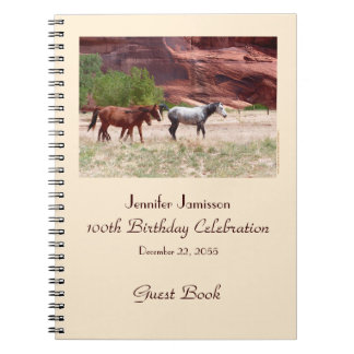 100th Birthday Party Guest Book, Horses in Canyon Notebook