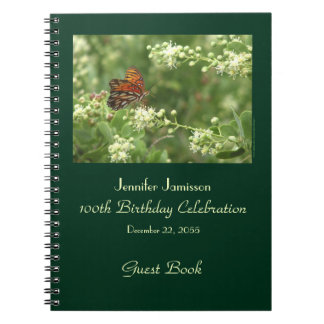 100th Birthday Party Guest Book, Orange Butterfly Spiral Notebooks