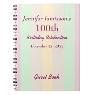100th Birthday Party Guest Book Pastel Stripe Notebooks