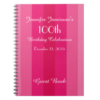 100th Birthday Party Guest Book Pink Stripe Spiral Note Book
