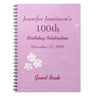 100th Birthday Party Guest Book Pink, White Floral Spiral Notebook