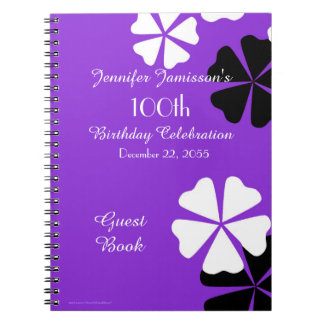 100th Birthday Party Guest Book Purple Floral Notebooks