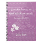 100th Birthday Party Guest Book, Purple Floral Notebook