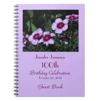 100th Birthday Party Guest Book, Purple Flowers Notebook